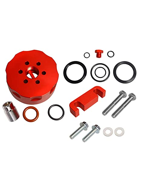 amazon com: blackhorse-racing cat fuel filter adapter &spacer&bleeder&seal  kit fit 2001 2002 2003 2004 2005 2006 chevy duramax red: automotive