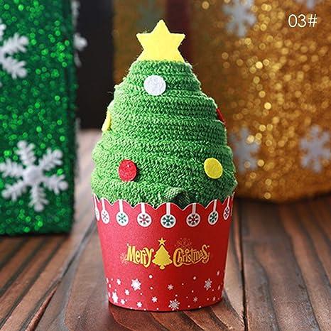 Novedad Pastel de Helado con Forma 30x30cm Toalla Árbol de Navidad Papá Noel Muñeco de Nieve