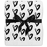 Fawn Hill Co Organic Muslin Cuddle Blanket for Baby & Toddler Monochrome - Fits in Crib or Bed