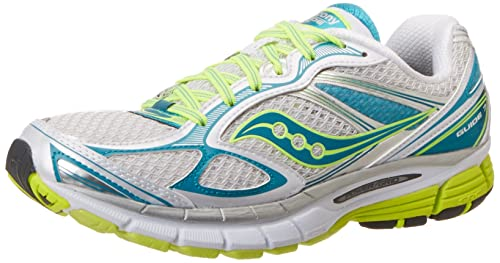 Saucony Women's Guide 7 Running Shoe,White/Teal/Citron,6 ...