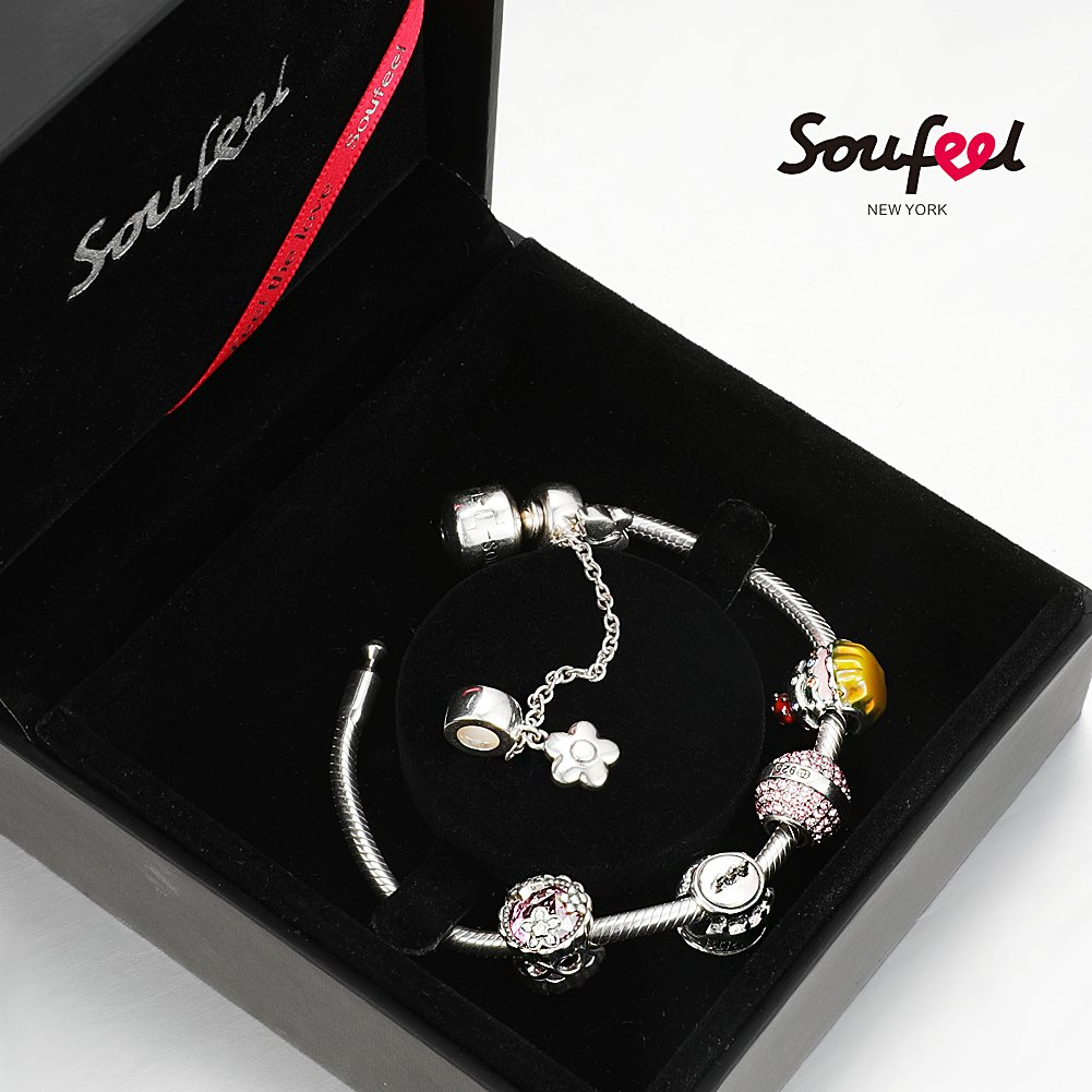 SOUFEEL ''Happy Birthday'' Bracelet 925 Sterling Silver Charm Bracelets 9.1 Inch With Safety Chain Birthday Gift by SOUFEEL (Image #7)