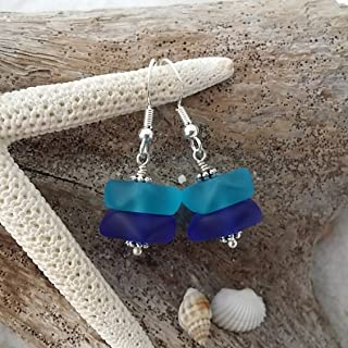 product image for Handmade in Hawaii, two blue sea glass earrings, (Hawaii Gift Wrapped, Customizable Gift Message)