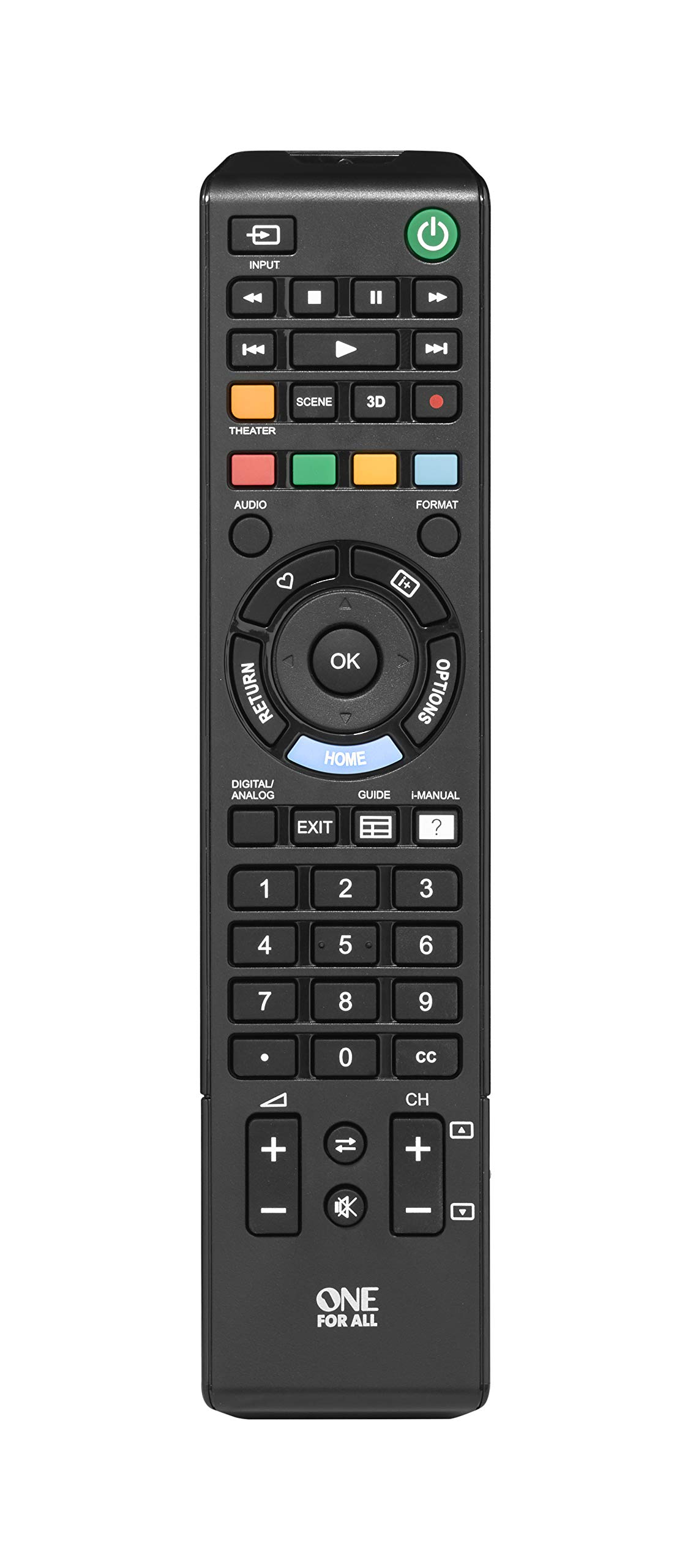 One For All Sony TV Replacement Remote - Works with All Sony Televisions (LED, LCD, Plasma) - Ideal TV Replacement Remote Control with Same Functions as The Original Sony Remote - Black - Urc1812 by One For All (Image #2)