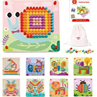TOOKYLAND Button Art Toy for Toddler, Mosaic Pegboard for Kids, Color Matching Early Learning Educational Toys for 3…