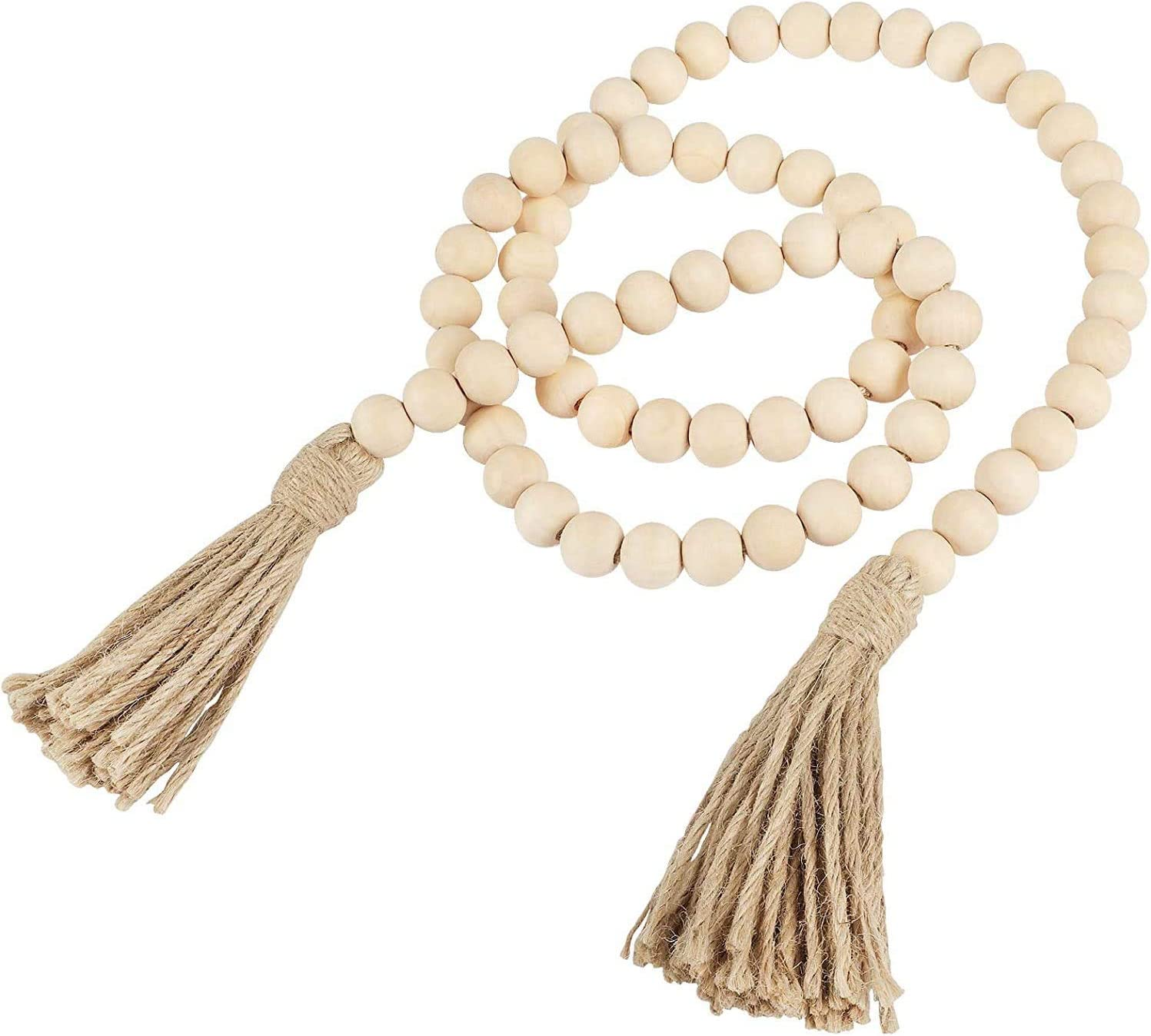 LIMGLIM 66inch Wood Bead Garland for Farmhouse Boho Decor with Tassels, Prayer Beads Rustic Country Wall Hanging Decor, 20mm