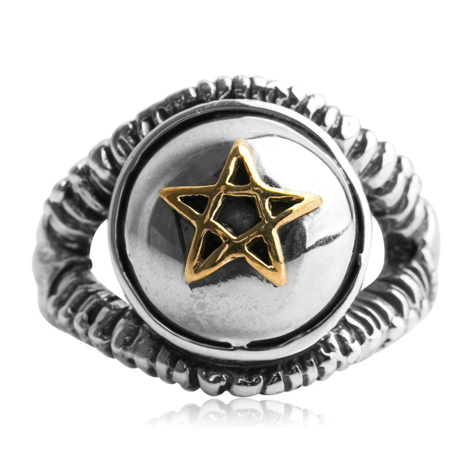 Adisaer Biker Rings Silver Ring for Men Gold Pentagram Star Ring Size 9.5 Vintage Punk Jewelry by Adisaer