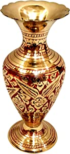 Akanksha Arts Made of Brass - 7.3 inch high Vase - A Rare Indian Decor - Alluring Nakkashi - for Dry Flowers - Not Recommended for Water