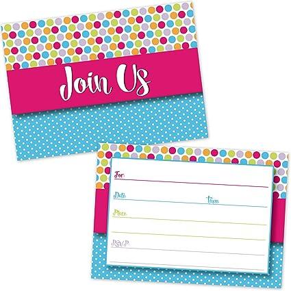 amazon com colorful polka dots party invitations kids birthday
