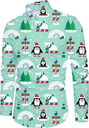 Funnycokid Hombre Navidad Ugly Christmas Camisas Tops Impreso con Botón Manga Larga Funny Night Club Hombre Tops: Amazon.es: Ropa y accesorios