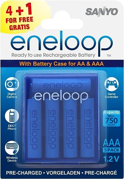 Sanyo Eneloop - Pack de pilas recargables (4 unidades, 750 mAh, con caja), blanco: Eneloop: Amazon.es: Electrónica