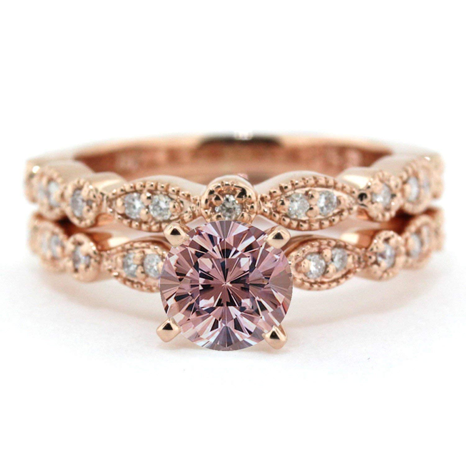 1.50 Carat Round cut Morganite and Diamond Wedding Ring Set for Women In Rose Gold