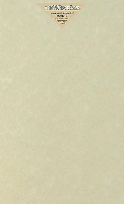 Amazon.com: 100 Natural Parchment 65lb Cover Paper Sheets 8.5X14 ...
