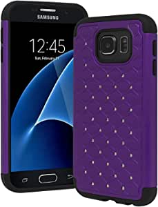 Bastex Galaxy S7 Case, Heavy Duty Slim Fit Hybrid Rubber Silicone Cover with Bling Rhinestone Premium Dual Shock Phone Case for Samsung Galaxy S7 (Purple)
