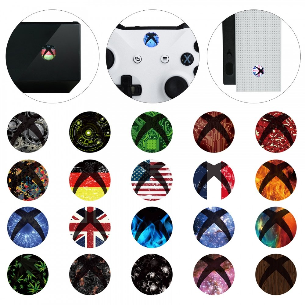 eXtremeRate 60 pcs Custom Home Button Power Switch Stickers Skin Cover for Xbox Series X/Xbox Series S/Xbox One/One X/One S Console Kinect and Xbox One/One X/One S/Elite Controllers