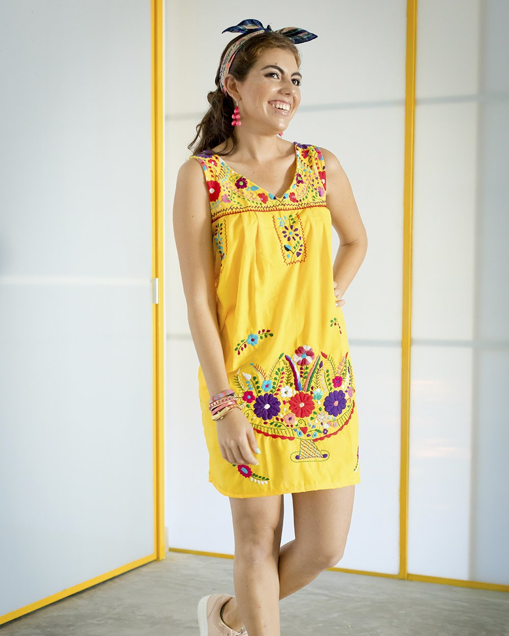 SIZE LARGE Yellow Women's Shift Dress with Embroidery