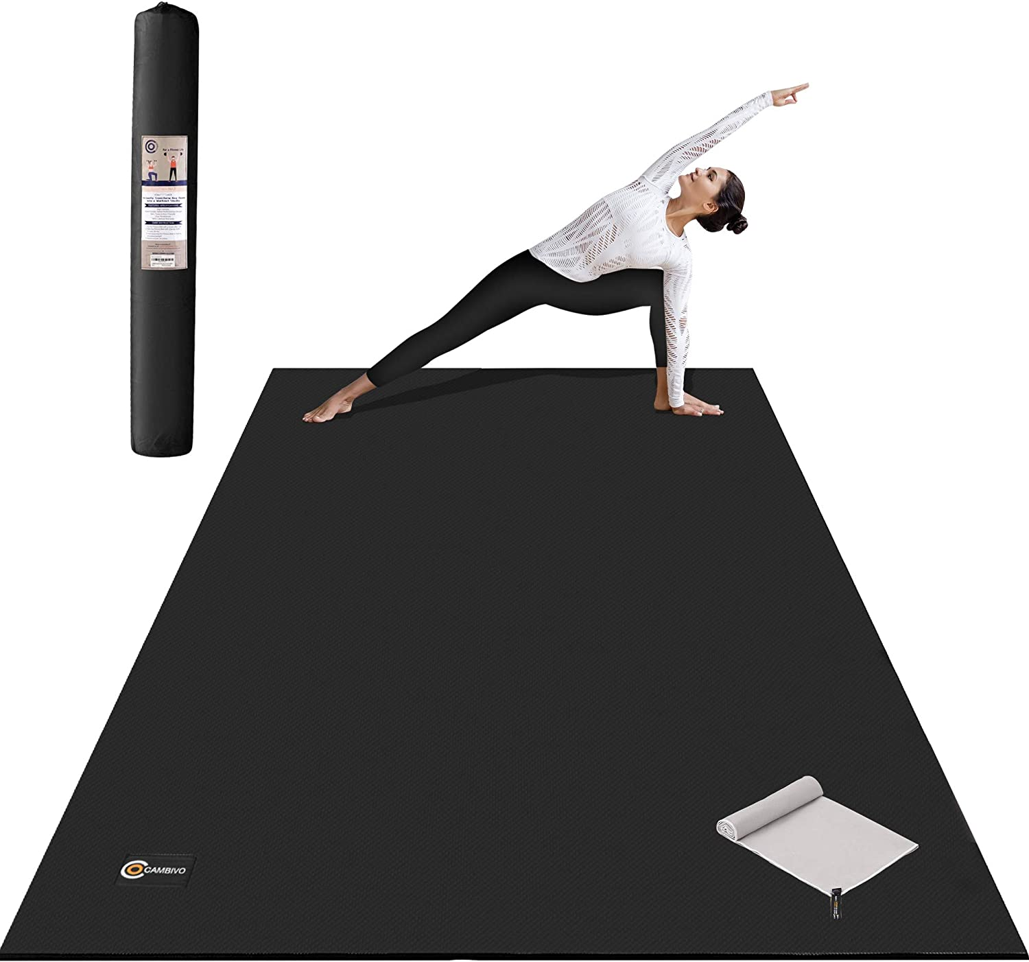 CAMBIVO Large Yoga Mat, 7'x 5' x 8mm Large Wide Exercise mat, Extra Thick Workout Mat for Home Gym Floor, Cardio, Pilates, Stretching, 84'' Long x60'' Wide, Use Without Shoes (Black)