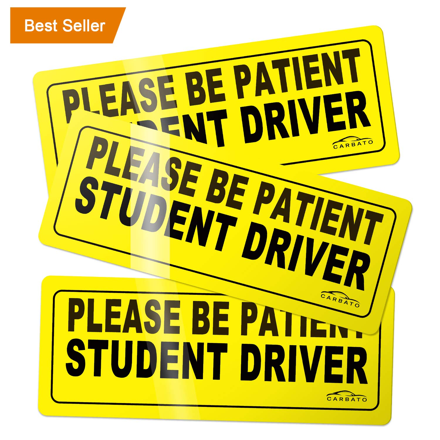CARBATO Please Be Patient Student Driver Safety Sign Vehicle Bumper Magnet Car Vehicle Reflective Sign Sticker Bumper for New Drivers Set of 3