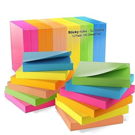 Amazon.com: Infiniko Sticky Notes 3x3, pegatinas de colores ...