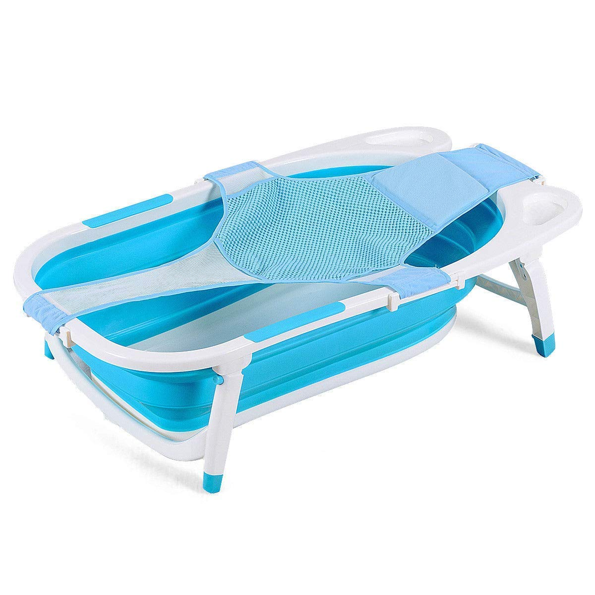 BABY JOY Collapsible Baby Bathtub, Folding Portable Shower Basin with Non-Slip Mat, Storage Slot, Recline Position for Infant (Blue) by BABY JOY
