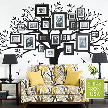"Amazon.Com: Family Tree Wall Decal (Black, Standard Size : 107""W X"