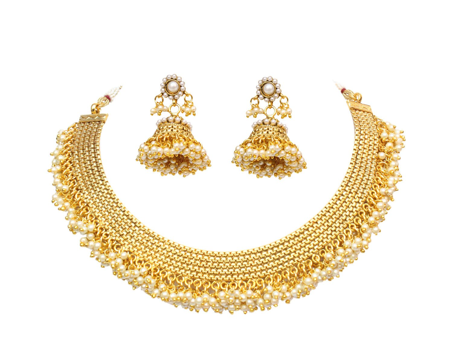 Ratna creation Exclusive Indian Bollywood Gold Plated Jadau Pearl Necklace & Jhumki Earring Set Bridal Wedding Jewelry