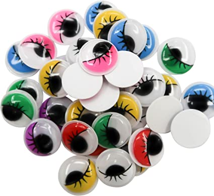 10mm Googly Eyes with Eyelashes Wiggly Moving 7 Colour Choice Self Adhesive