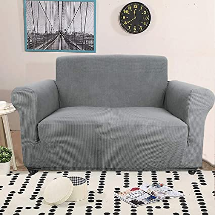Amazing Sancua Loveseat Cover Grey Fitted Couch Cover Soft Anti Slip Stretchy Loveseat Slipcover For Furniture Protector One Piece Leather Sofa Cover For 2 Ocoug Best Dining Table And Chair Ideas Images Ocougorg