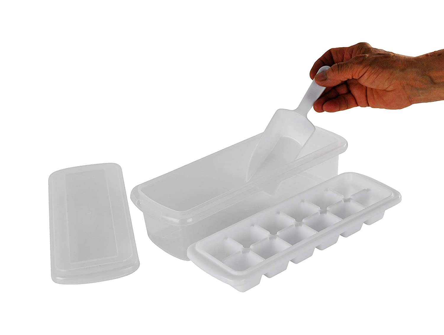 HOME-X Ice Cube Maker with Holder Tray and Scoop, Home Bar Accessories for Freezer
