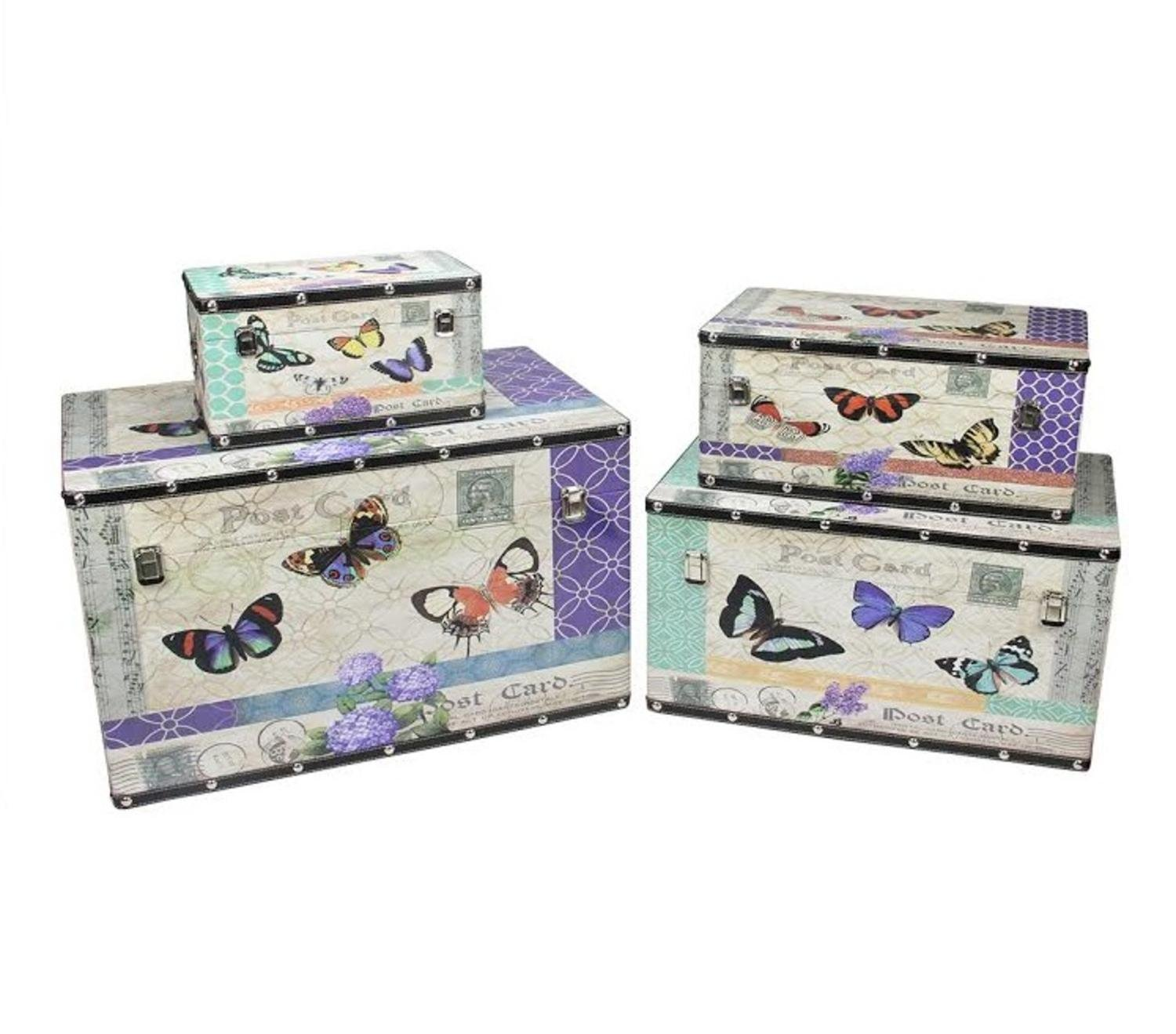 Northlight Set of 4 Wooden Garden-Style Butterfly Decorative Storage Boxes 14-27.5, 14''-27.5'', Multicolored by Northlight (Image #1)