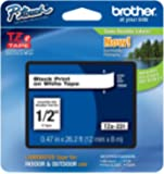 """4 Pack Brother P-touch ~1/2"""" (0.47"""") Black on White Standard Laminated Tape - 26.2 ft. (8m)"""