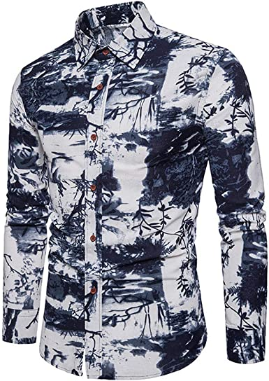 Ropa de Hombre Camisas Informales Conjuntos Camisa con Pantalones Manga Larga Hombres Tinta Pintura Impresión Transpirable Shirt 5XL: Amazon.es: Ropa y accesorios