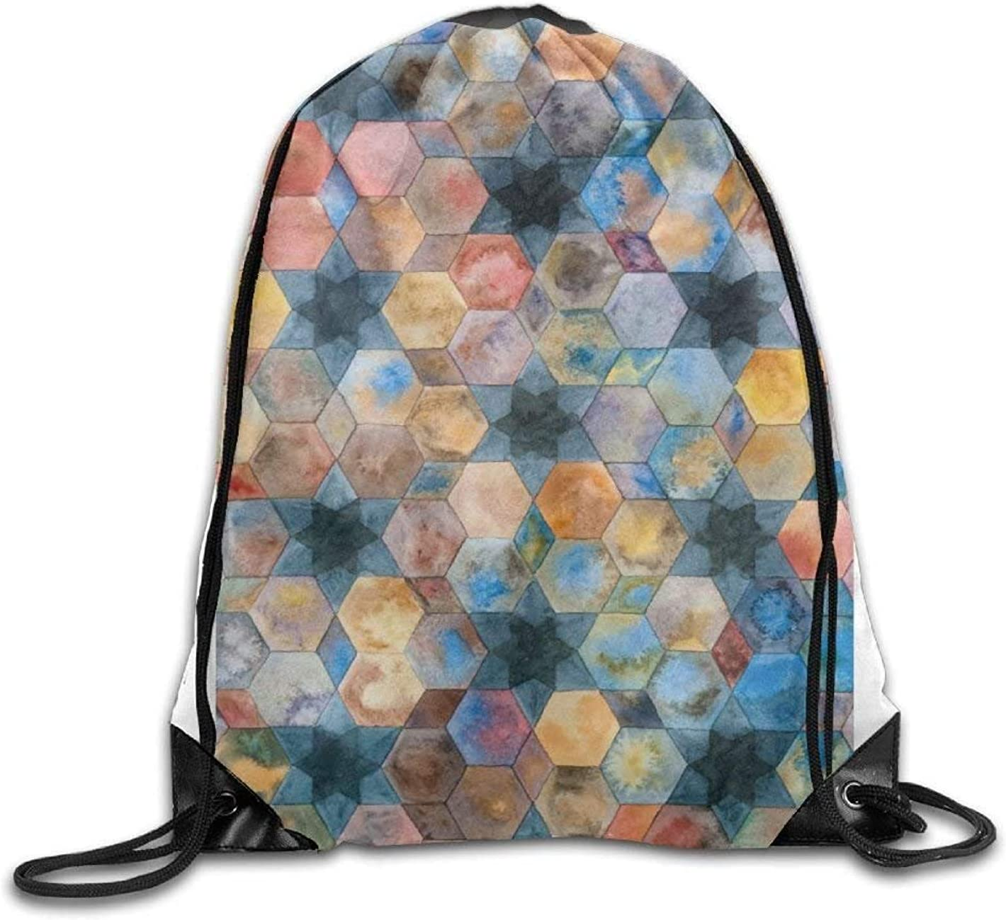 Drawstring Backpack Fish Scales Gym Bag