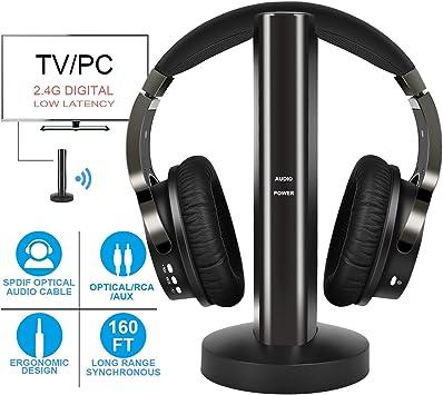 Auriculares inalámbricos de TV 2.4G Digitales, Auriculares inalámbricos de Alta fidelidad con RCA / 3.5MM y conexión óptica, para Ver la computadora de Juegos de TV: Amazon.es: Electrónica