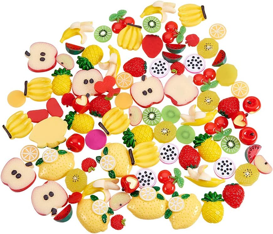 PH PandaHall 90pcs 15 Style Fruit Resin Flatback Cabochons 3D Slime Charm Slices for Miniature Fairy Garden Hair Accessories DIY Scrapbooking Jewelry Making Home Decoration