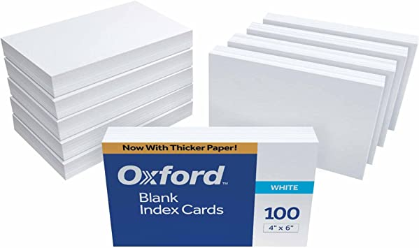 Index Cards 4 x 6 Inch Ruled White OXFORD 100 Cards