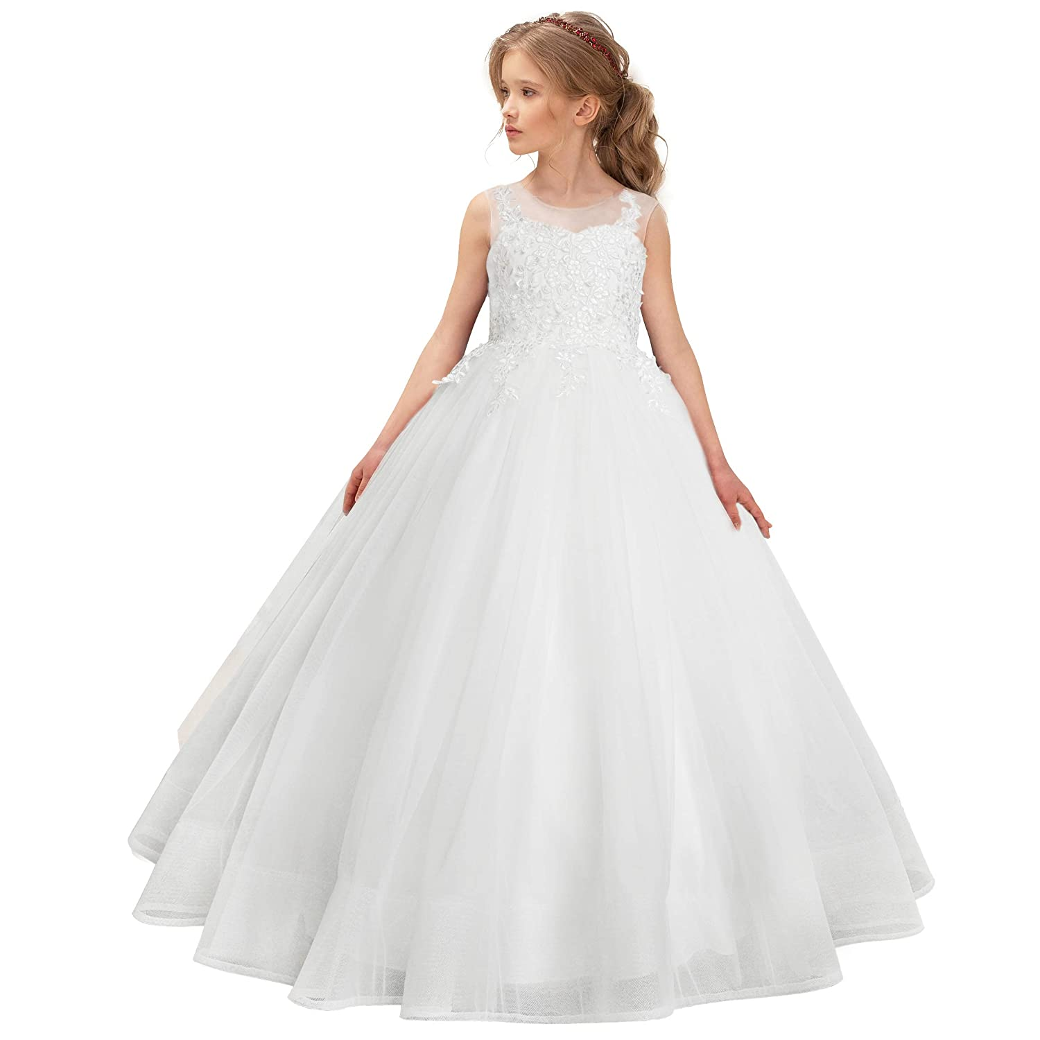 bc71f381da CQDY Flower Girl Lace Dresses Wedding Bridesmaid Flower Girl Dress Formal  Party Pageant Prom Ball Gown Christmas Birthday Gifts
