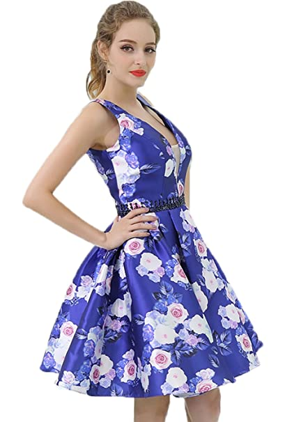 78f9f29f149 Asoiree V-Neck Floral Print Sleeveless Short Homecoming Dresses 2018 Royal  Blue Beaded Waist A-line Prom Dresses at Amazon Women s Clothing store