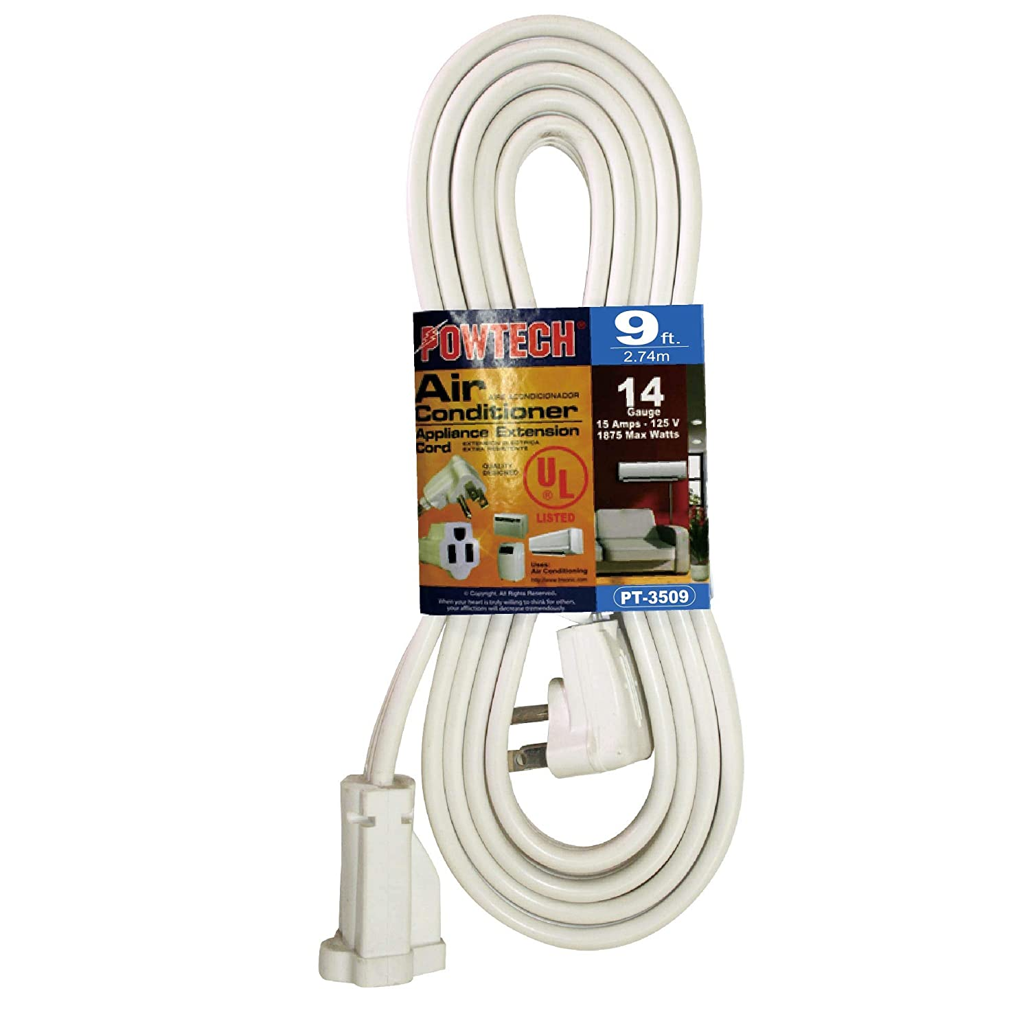 POWTECH Heavy duty 9 FT Air Conditioner and Major Appliance Extension Cord UL Listed 14 Gauge, 125V, 15 Amps, 1875 Watts GROUNDED 3-PRONGED CORD