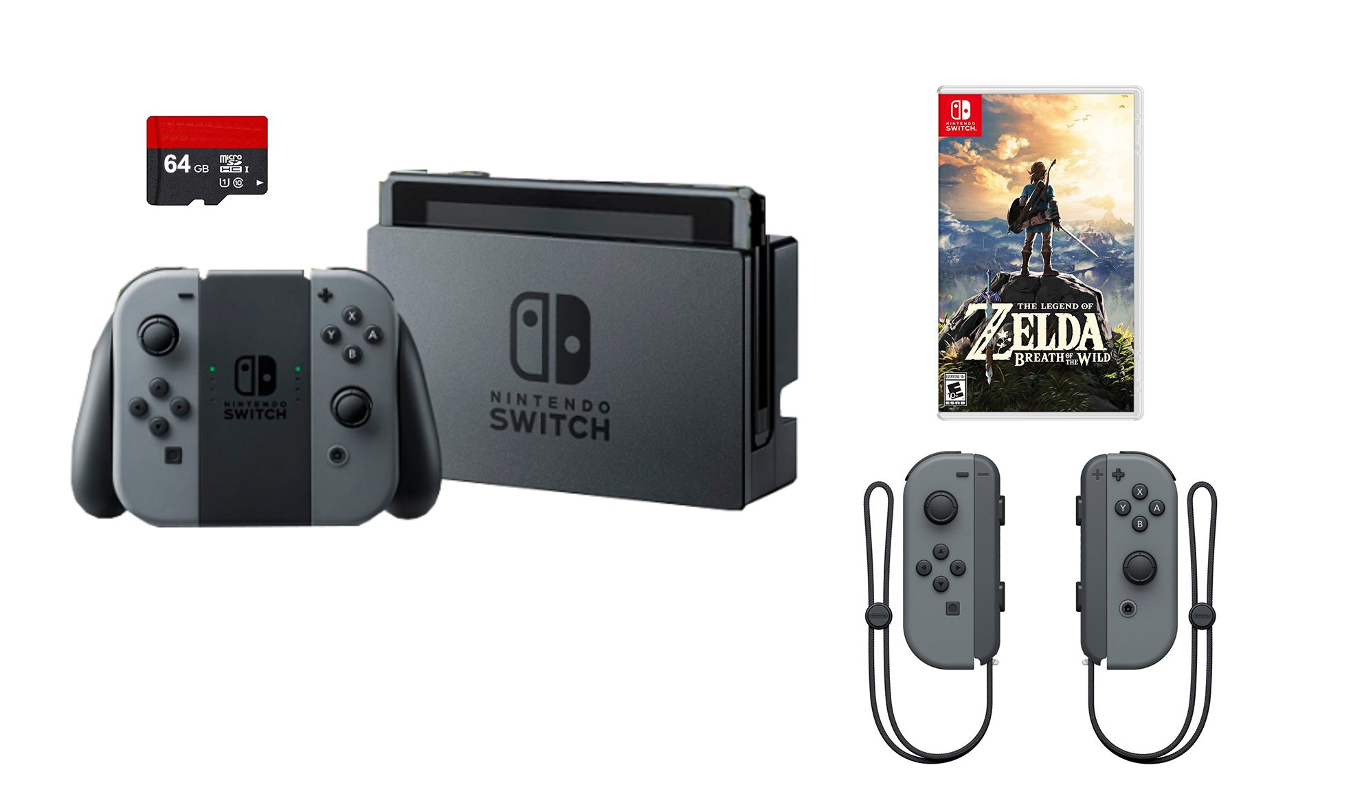 Nintendo Swtich 4 items Bundle:Nintendo Switch 32GB Console Gray Joy-con,64GB Micro SD Memory Card and an Extra Pair of Nintendo Joy-Con (L/R) Wireless Controllers Gray,The Legend of Zelda