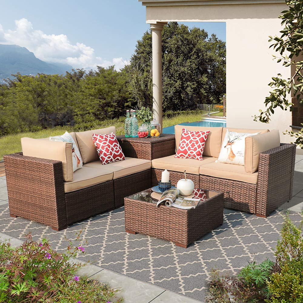 Patiorama Outdoor Furniture Sectional Sofa Set 6-Piece Set All-Weather Brown Wicker with Beige Seat Cushions Glass Coffee Table Storage Table Patio, Backyard, Pool