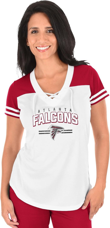 NFL Atlanta Falcons Adult Women NFL Plus S//Lace Up V Neck Tee,1X,WHT//C.Red