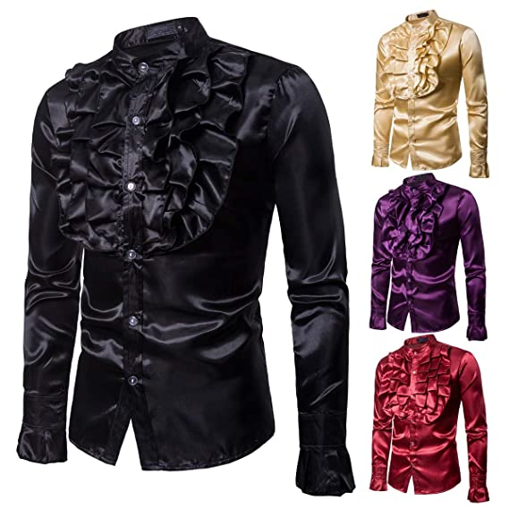 59d2892a68df0 Yomis Men Long Sleeve Ruffle Dress Shirts Slim Fit Stand Collar Button Down  Party Ball(