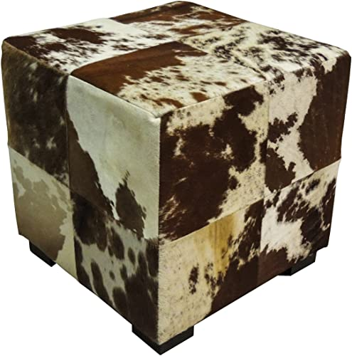 Hair-On Hide Cube Ottoman Brown White Cowhide 18″ X 18″ X 18″