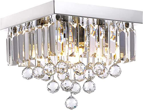 Crystal Chandelier Lighting for Hallway Modern Raindrop Design Ceiling Light W10 x H9
