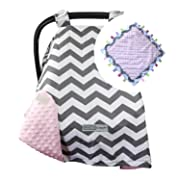 CRAZZIE Car Seat Canopy with Soft TAGZ Blanket - Grey Zigzag Pink Minky