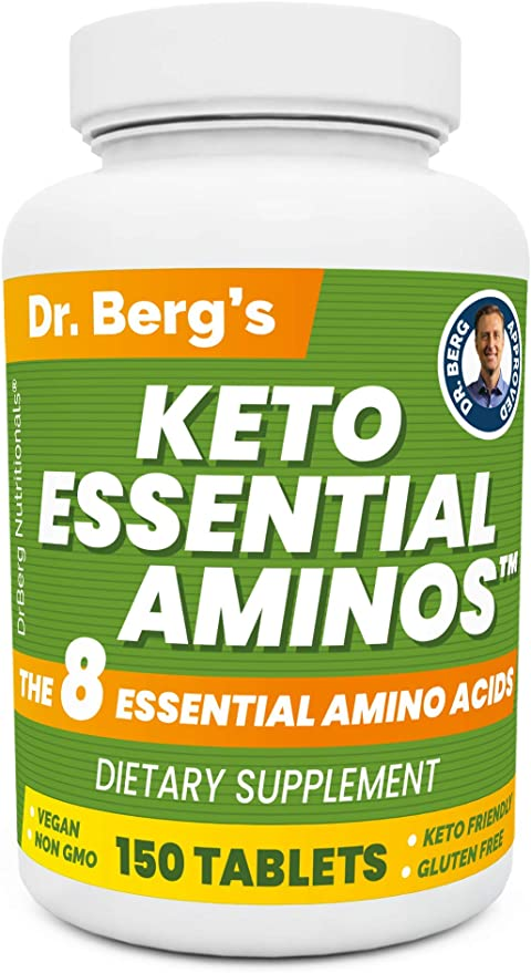 Dr. Berg's Keto Essential Aminos - Contains 8 Essentials Amino Acids -Keto Friendly & Rich in Protein Vegan Tablets - Workout & Muscle Recovery Energy Supplements - Support Healthy Hormones -150 Tabs