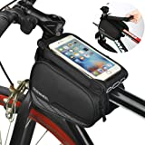ieGeek Roswheel Bike Frame Bag Cycling Pannier Front Top Tube Handlebar Bags Bicycle Pouch Phone Holder for iPhone 6 / 7 / 6S / 6S Plus Samsung Galaxy S5/S6/S7 and other Smart Phone Bellow 5.7 Inch 1.8L- Black