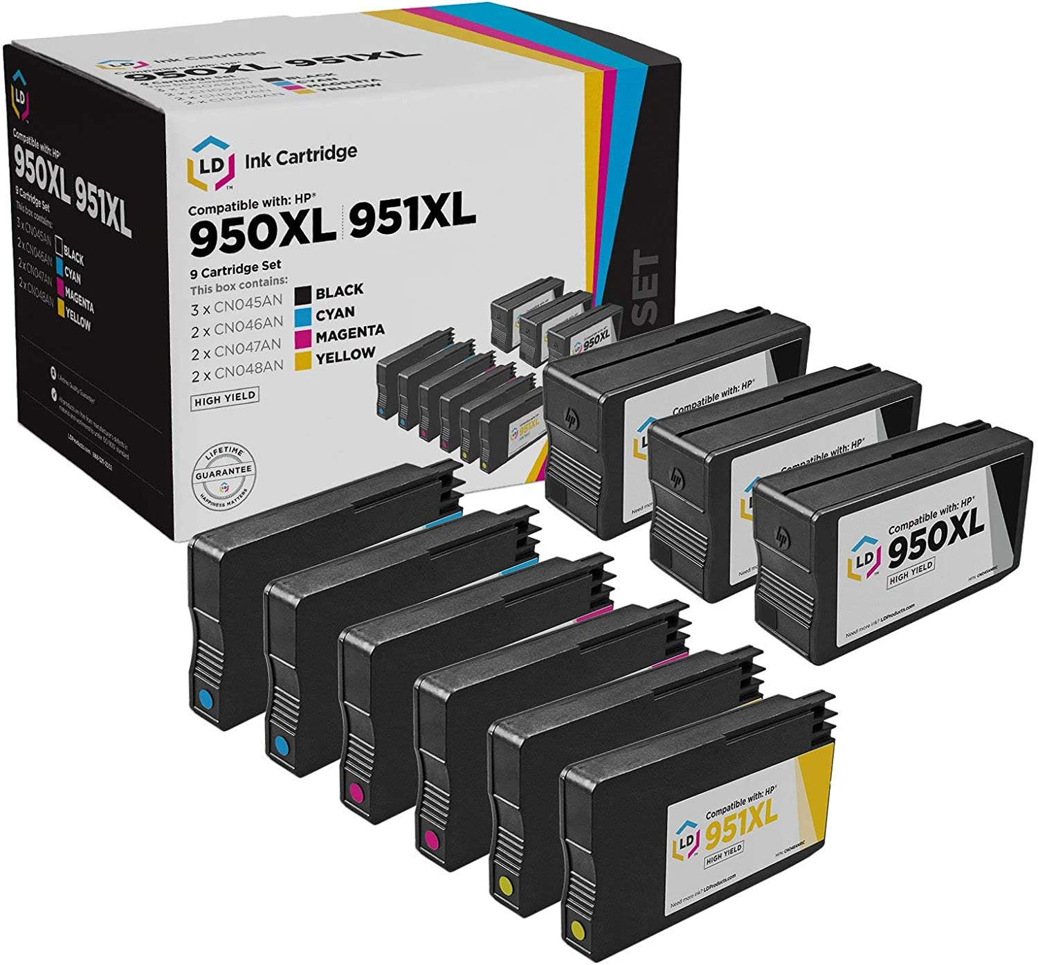 LD Remanufactured Ink Cartridge Replacements for HP 950XL & 951XL High Yield (3 Black, 2 Cyan, 2 Magenta, 2 Yellow, 9-Pack)