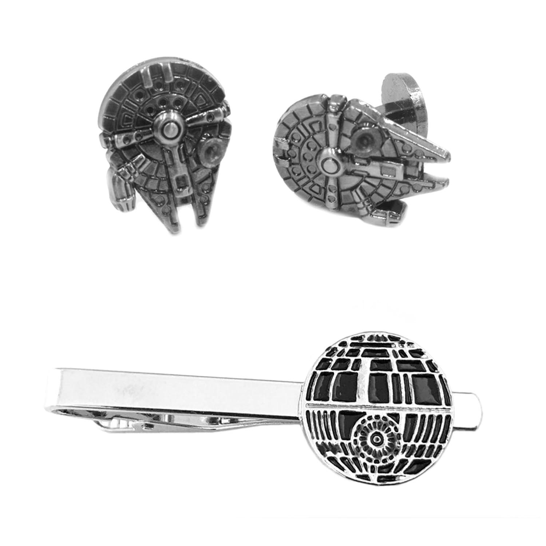 Outlander Millenium Falcon Cufflink & Death Star Tiebar - New 2018 Star Wars Movies - Set of 2 Wedding Logo w/Gift Box Outlander Brand