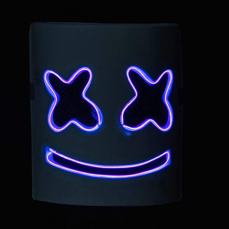 Maschera piena di marshmallow incandescente in lattice con illuminazione a LED; maschera facciale per DJ con luce a LED